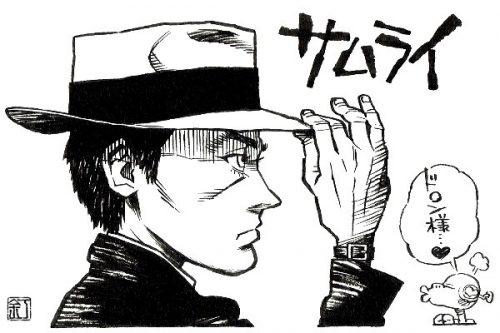 映画『サムライ』アラン・ドロンのイラスト(似顔絵)
