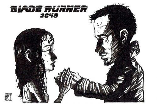 映画『ブレードランナー 2049』ライアン・ゴズリングとアナ・デ・アルマスのイラスト(似顔絵)