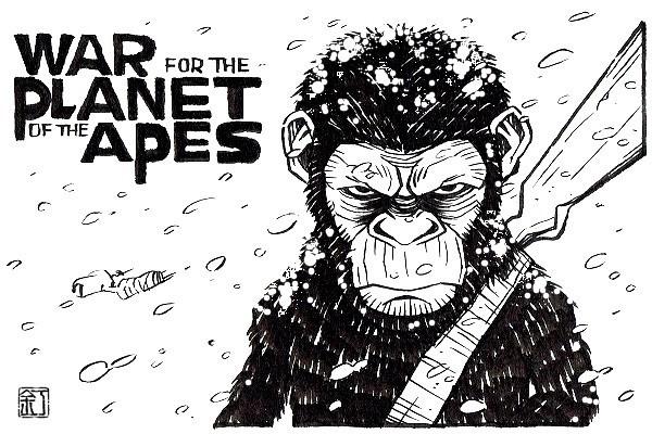 映画『猿の惑星:聖戦記』シーザーのイラスト