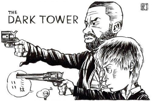 映画『ダークタワー』イドリス・エルバとトム・テイラーのイラスト(似顔絵)